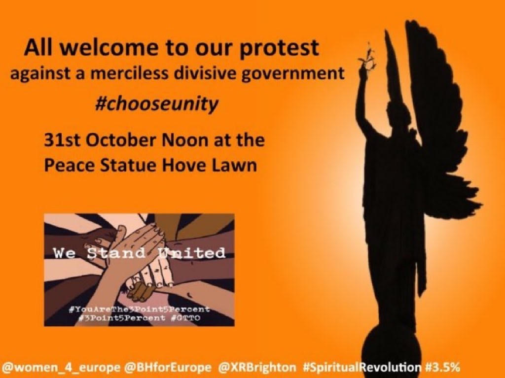 Poster for protest on Saturday 31st October at noon at Hove Lawns