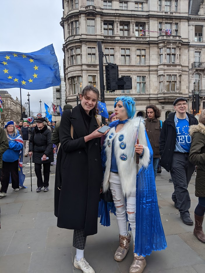 Flamboyant blue-haired Madeleina Kay – one of the rare young leading faces in the Remain movement