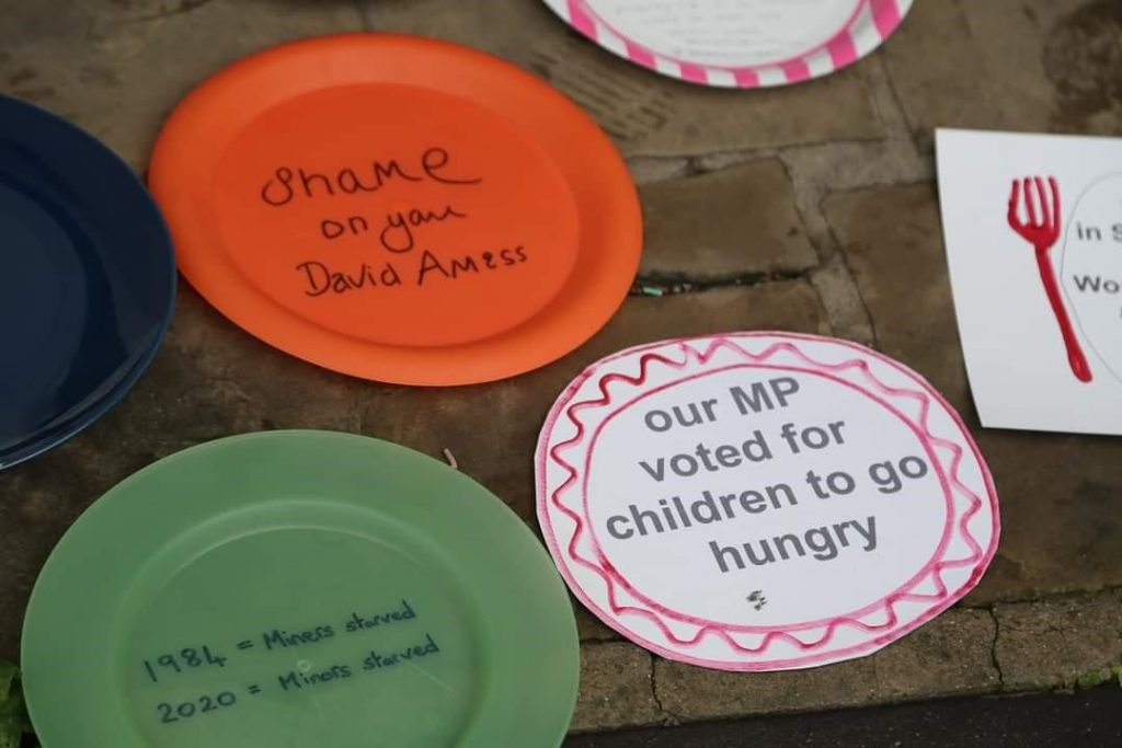 Empty plate protests are taking off nationally. These were left outside the Southend offices of Tory MP Sir David Arness. Photo credit: Aston Line, Southend West Labour Party