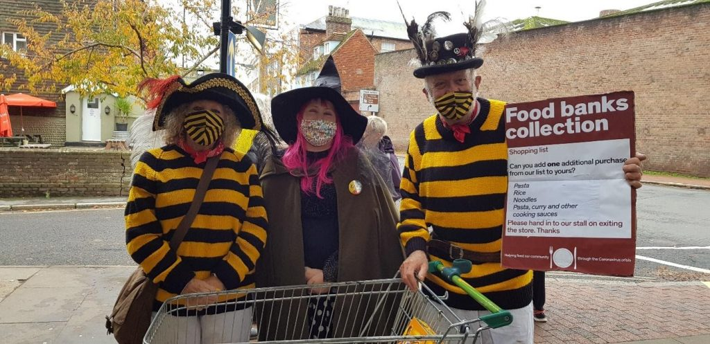 Doing their bit on Halloween: bonfire society members Sian and Richard Hill and Rachel Sargent. Photo credit: Ginny Smith