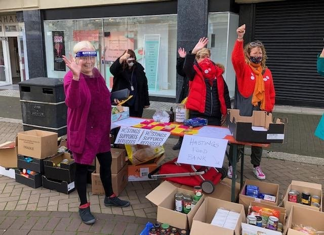 Food bank collectors in Hastings town centre