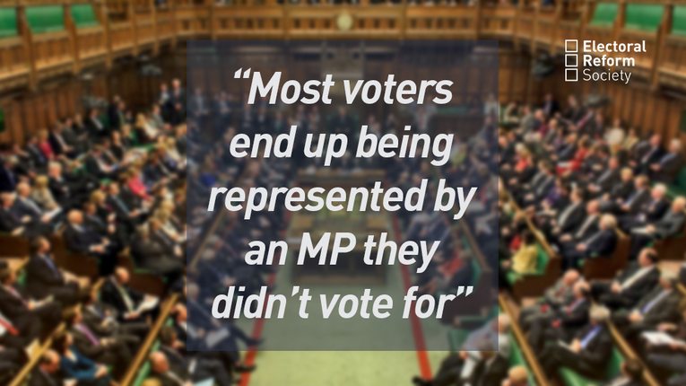 Photo of House of Commons with text overlaid: Most voters end up being represented by an MP they didn't vote for.