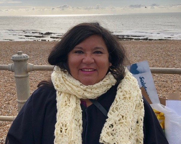 Photo of Rosanna Leal by the beach in Hastings taken by Rick Dollon