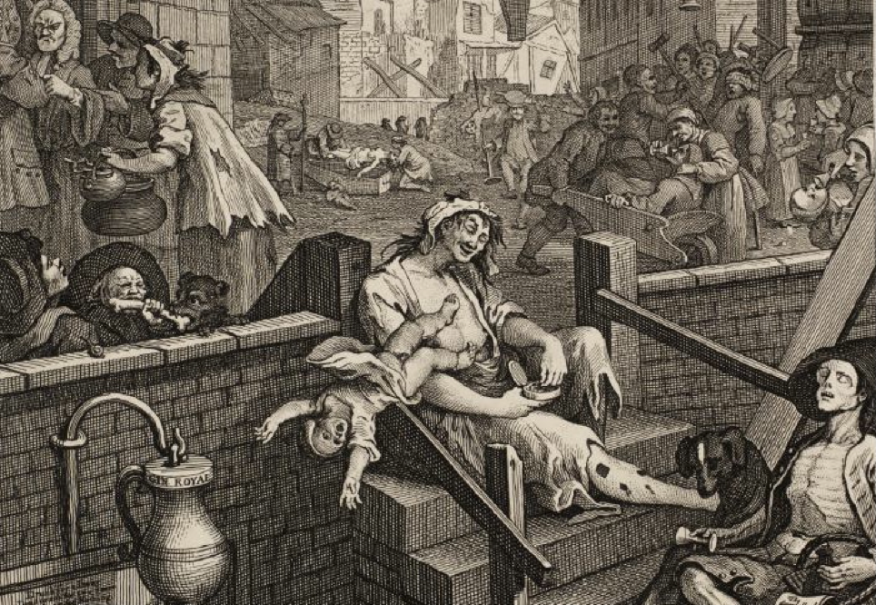 Famous 18th century drawing by Hogarth, Gin Alley, featuring people in various states of drunken abandon, including a mother whose baby has slipped from her arms