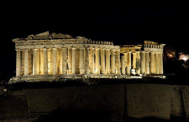 The Parthenon, illuminated at night.