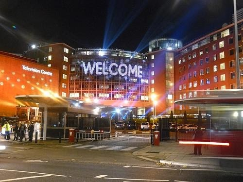 The welcome sign at BBC Television centre