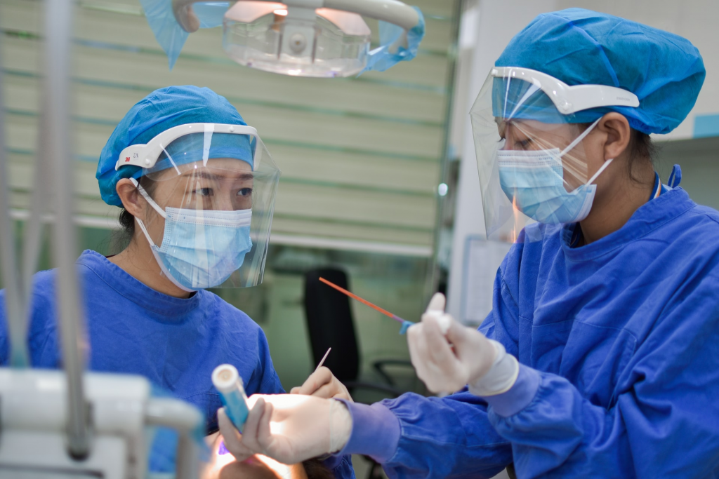 Female medical professionals in PPE