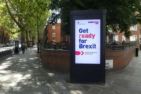 Government advertisement 'Get ready for Brexit' at a street corner.