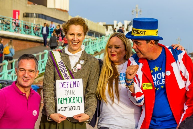 MP Peter Kyle alongside 'Modern Suffragette' Kate Willoughby, Best for Briain CEO Naomi Smith, and colourful Stop Brexit campaigner Steve Bray at a Women in Europe Rally on Brighton seafront.