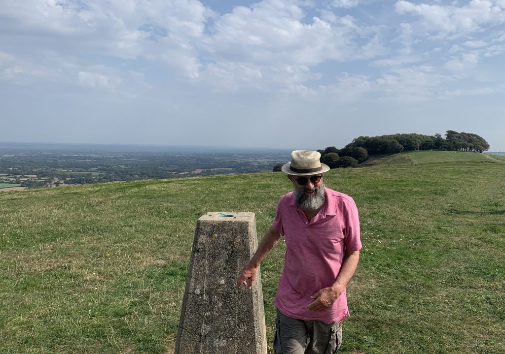 """James Joughin locates another """"trig point"""" at the western end of the South Downs in East Sussex, Summer 2020"""