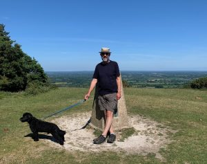 James Joughin and his dog Ringo on the South Downs, summer 2020