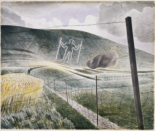 The Long Man of Wilmington - watercolour by renowned Sussex painter Eric Ravilious, painted in 1939. It is currently owned by and exhibited at the Victoria and Albert Museum gallery, London