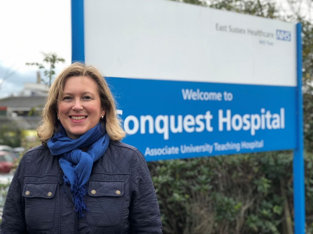 Sally-Ann Hart outside Conquest Hospital, Hastings