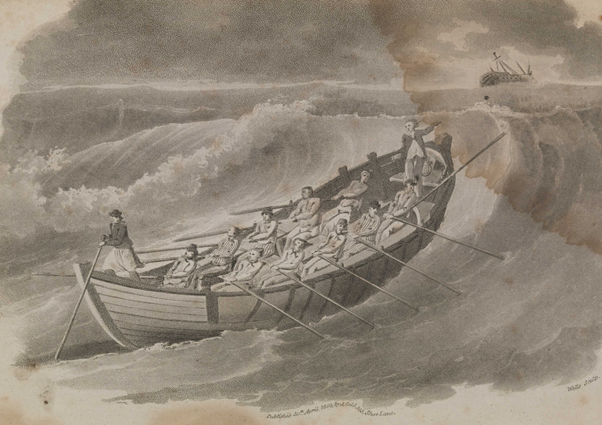 Early nineteenth century print of a lifeboat on stormy seas, the crew  working hard at the oars to climb a large wave.