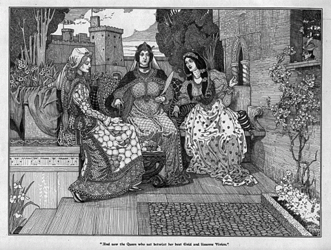 Illustration of Guinevere with Enid and Vivien