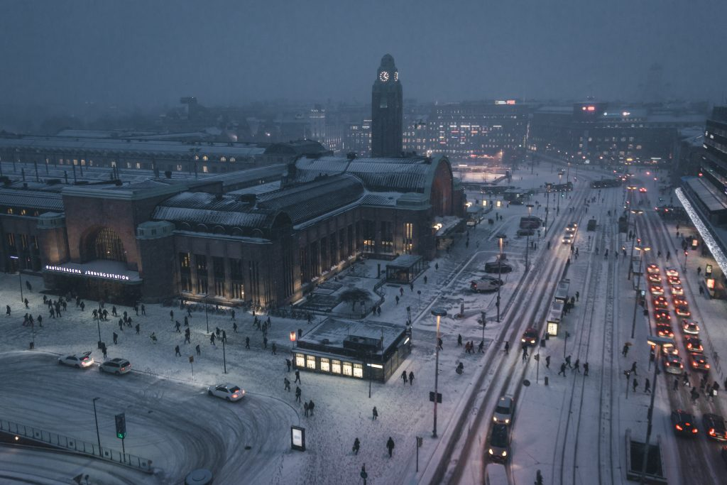 A wintery shot of Helsinki at night.