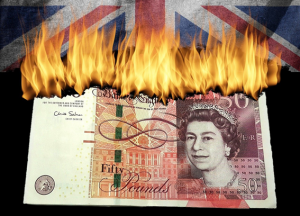 Image of a burning £50 note; a Union flag in the background.