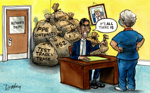 """Cartoon of chancellor Rishi Sunak offering a small bag of money to a nurse. Speech bubble saying """"It's all there is"""", while in the background large sacks of money are visible, labelled 'Test Track Trace', 'HS2', 'NI tunnel'. 'Consultants', 'PPE contracts' and 'Levelling up'."""