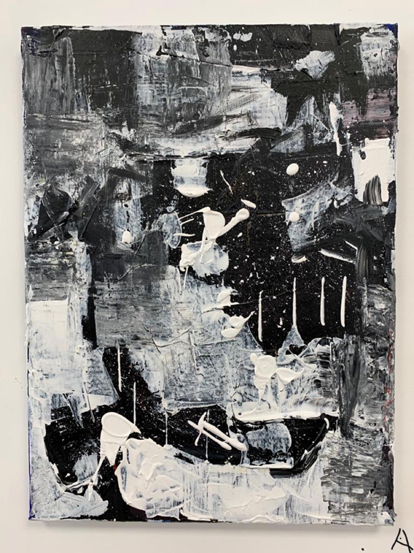 Abstract black and white artwork (acrylic-based) by Paige Furlonge-Walker.