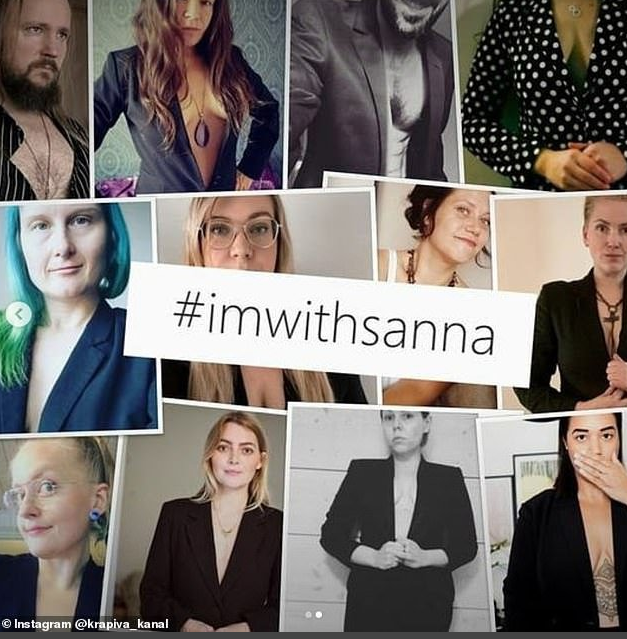 Montage of 12 photos showing people wearing blazers with nothing underneath. Hashtag #imwithsanna - reference to the backlash about the outfit Sanna Marin had worn in an interview.