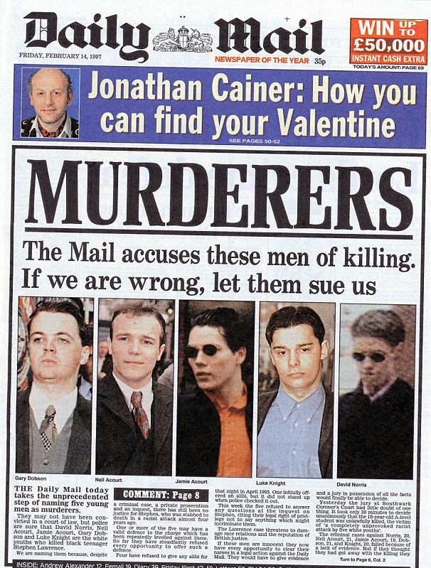 Front page of the Daily Mail in 1997 that named and accused the five young white men of murdering Stephen Lawrence in 1993
