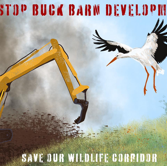 Graphic showing a digger and a stork, plus a caption that reads 'Save our wildlife corridor'.