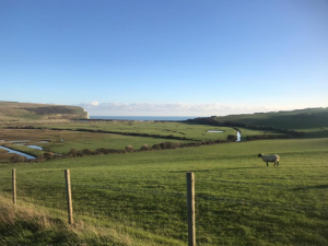 View of the Sussex Downs, on top of the Seven Sisters.