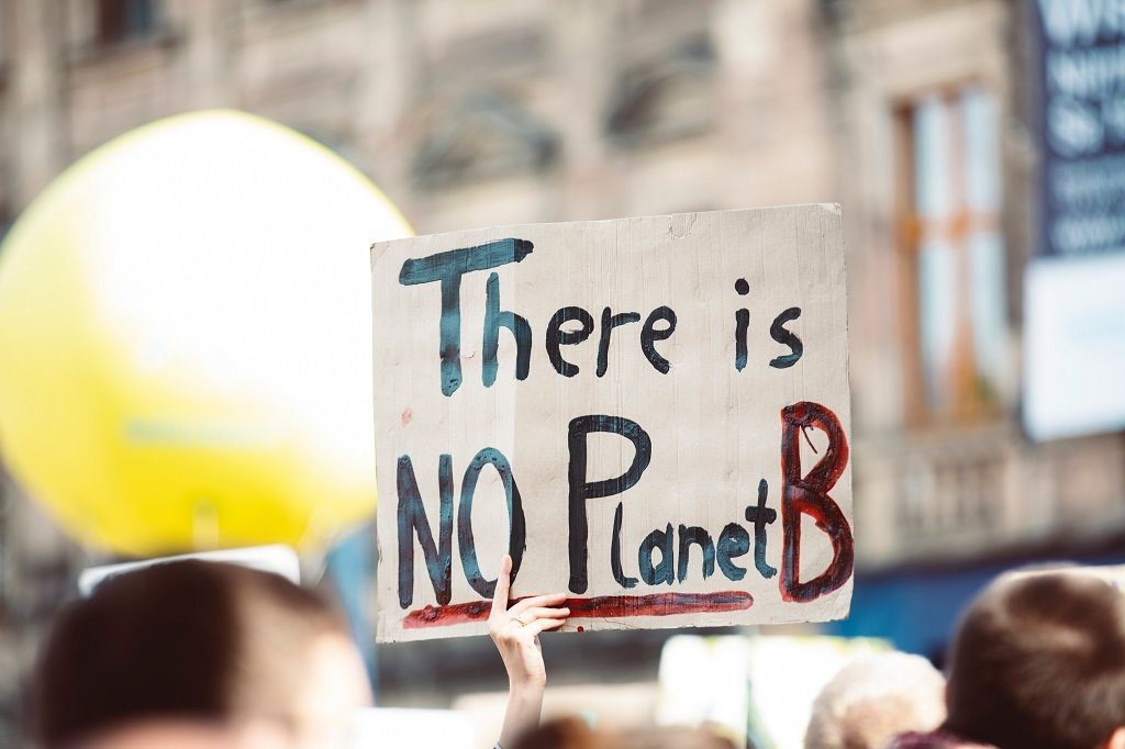 """Crowd scene out of focus but showing a placard which reads """"There is no Planet B"""""""