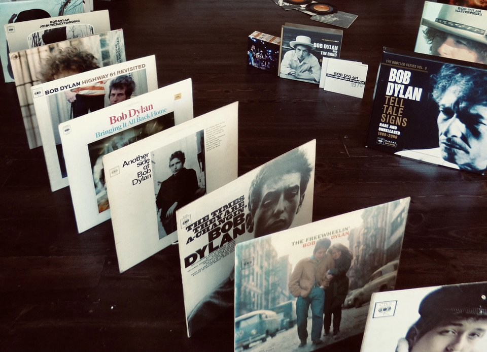 A line-up, domino-style, of Bob Dylan albums, including The Times They Are A-Changing