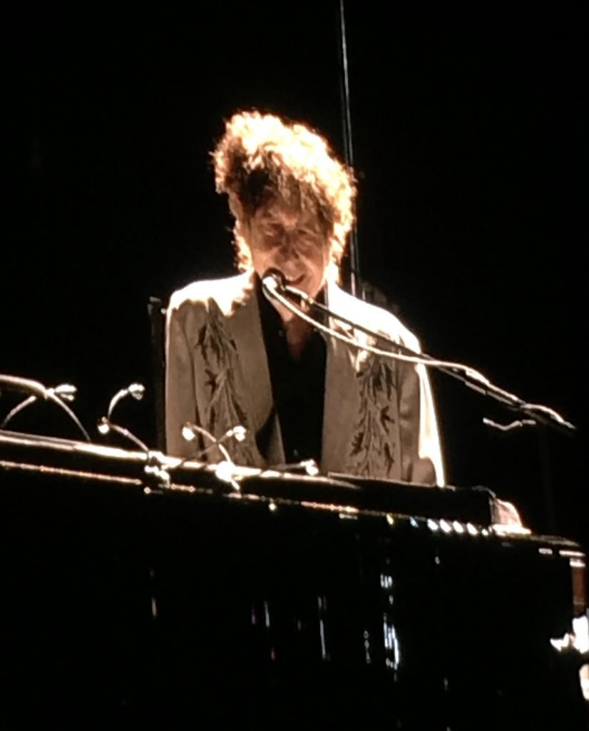 A picture of Bob Dylan at the keyboards during his 2019 Hyde Park concert
