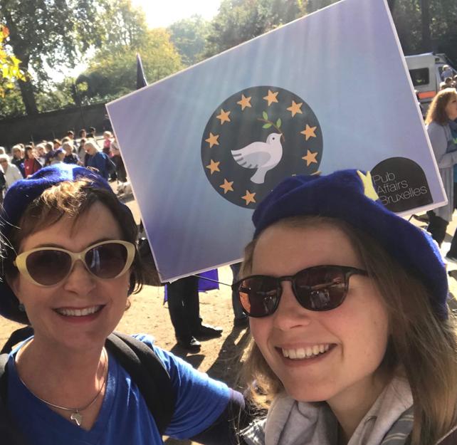 Two women at a pro-EU demonstration.