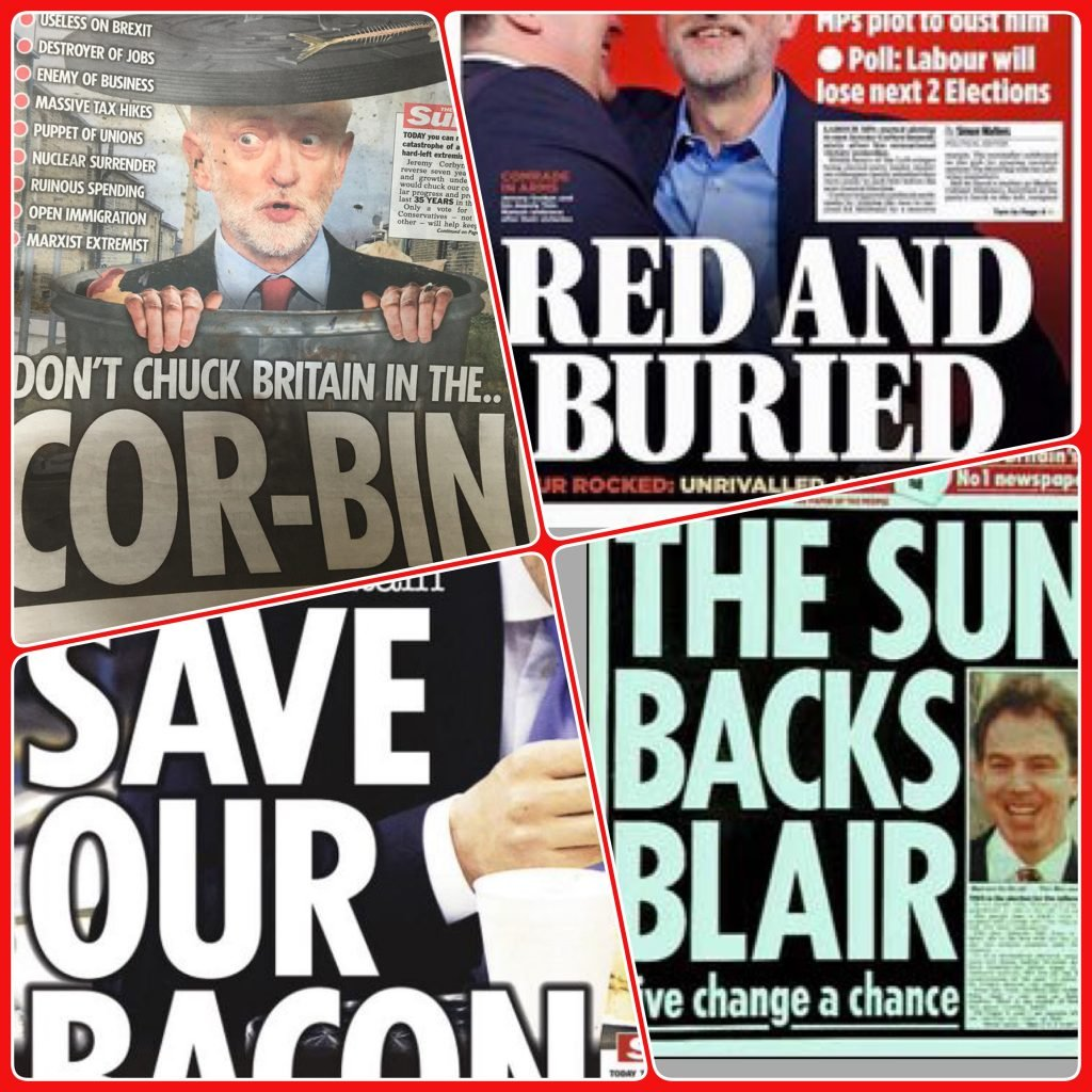 A compilation of anti-Labour party front pages from Murdoch owned right-wing UK tabloids - Tony Blair is still the only Labour leader to have won The Sun's support in the past few decades.