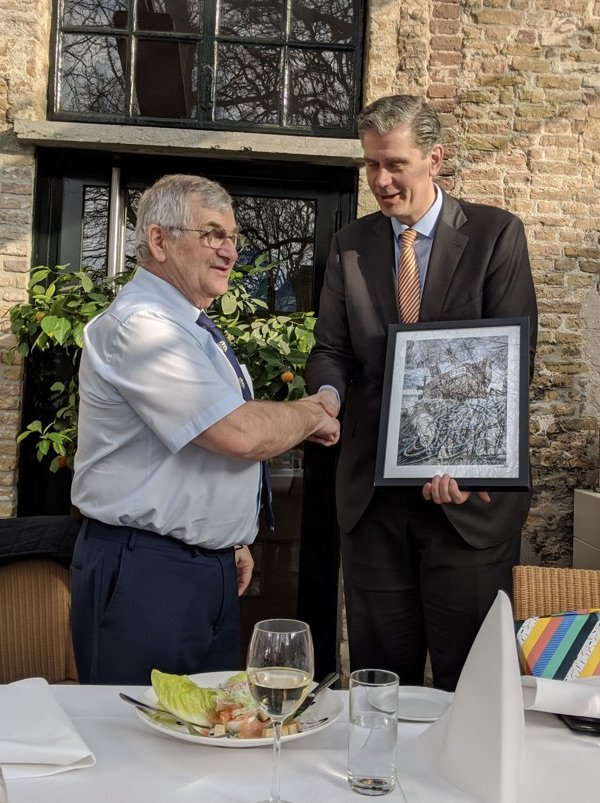 Two mayors, the mayor of Hastings and of the French town of Bethune exchange fits during an al fresco lunch to celebrate the towns' continuing friendship.