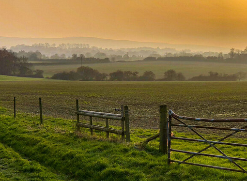 A view of East Sussex countryside at sunset, land owned by Eton College, which it now wants to develop for profit