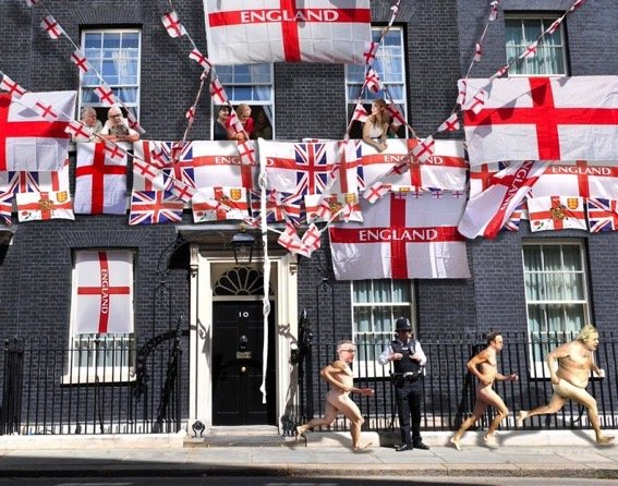 Satirical image showing naked MPs running from 10 Downing Street which is covered in flags, watched by their wives and mistresses