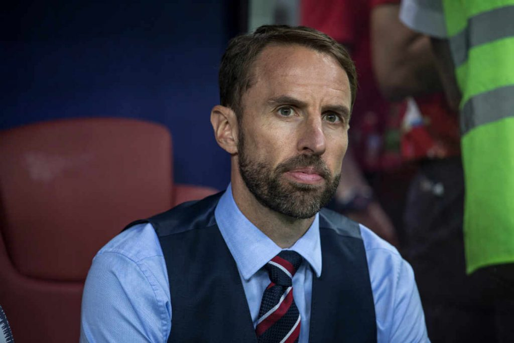 Photo of England national football manager Gareth Southgate watching a 2018 World Cup match between Croatia and England