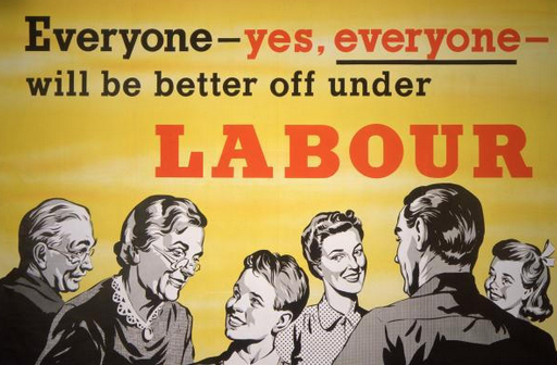 """A vintage Labour party poster with a smiling 50s-style extended family and the slogan: """"Everyone - yes, everyone - will be better off under Labour"""""""