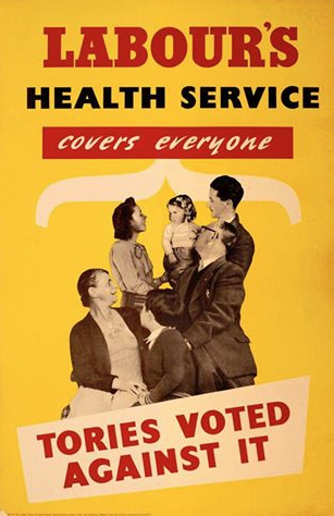 A vintage Labour party poster from 1948 after the National Health Service was created, reminding people that the Tories voted against the NHS
