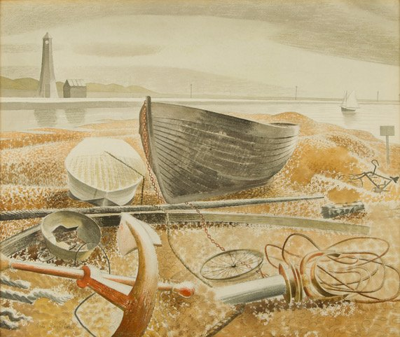 """A 1938 watercolour by Sussex artist Eric Ravilious called """"Anchor and Boats"""" shows fishing boats and equipment on the seashore"""