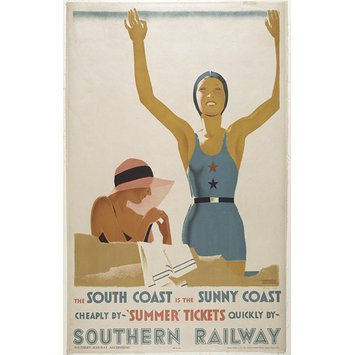 A vintage Art Deco style Southern Railway poster advertising cheap trips to the south coast by rail