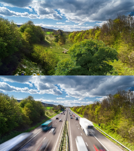 Before and after images showing (top) how the countryside east of Lewes looks now and (bottom) how it would look if the proposed new A27 motorway was built right through it