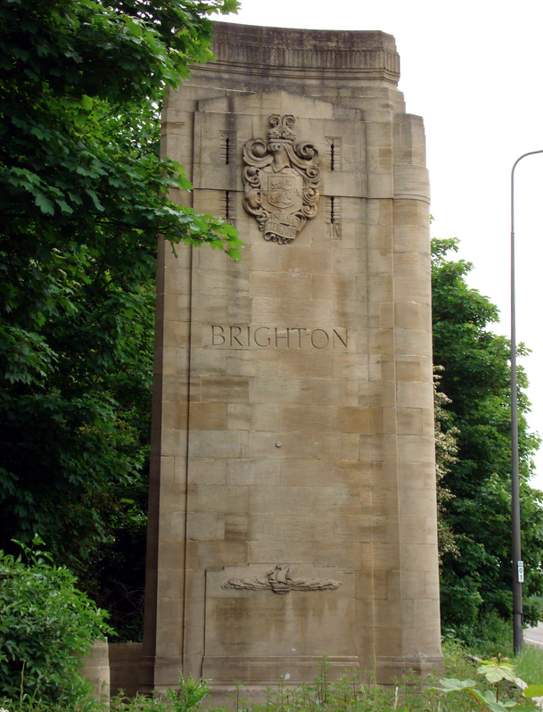 """One of two stone sculptures the """"Patcham Pylons"""" erected in 1928 on the A23 to signify you are entering the city of Brighton"""