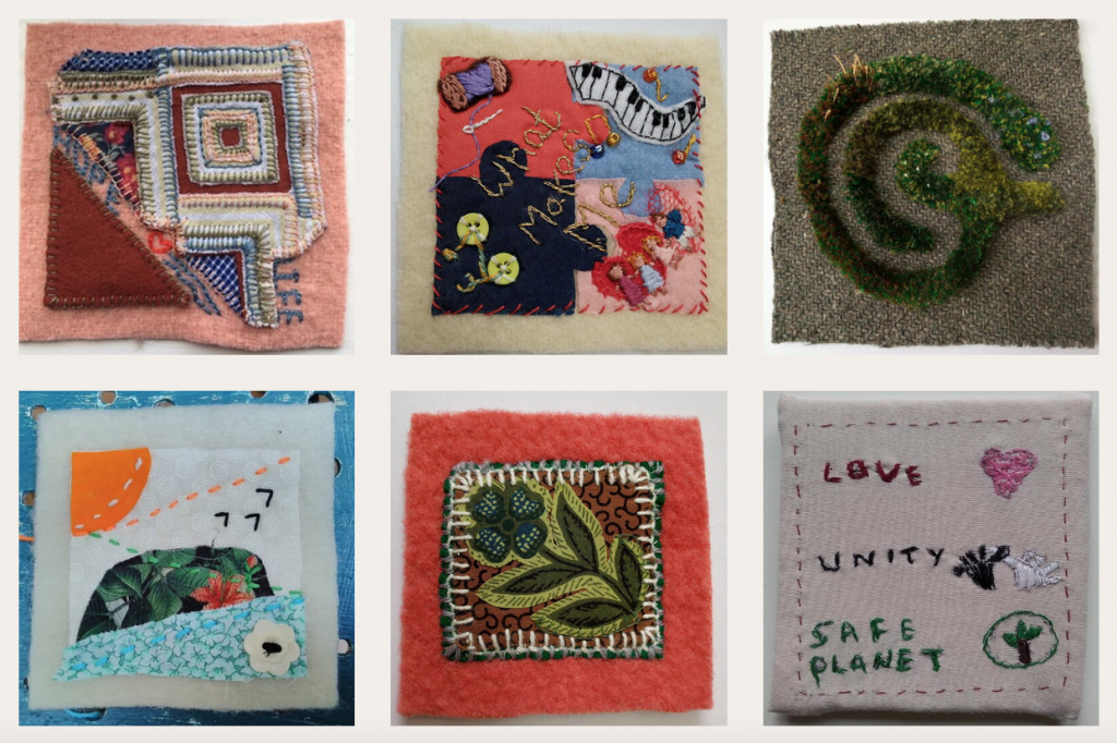 Six of the hand made patchwork squares that will be stitched to the Coat of Hopes. Each is totally different and as unique as its creator.