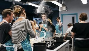 People cooking in Community Kitchen at Brighton & Hove Food Partnership
