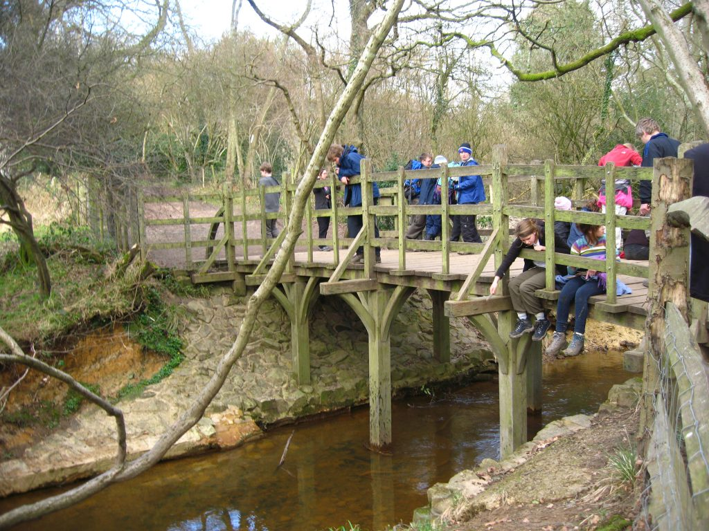 """Tourists on the famous """"Poohsticks Bridge"""" in the Ashdown Forest, Sussex"""
