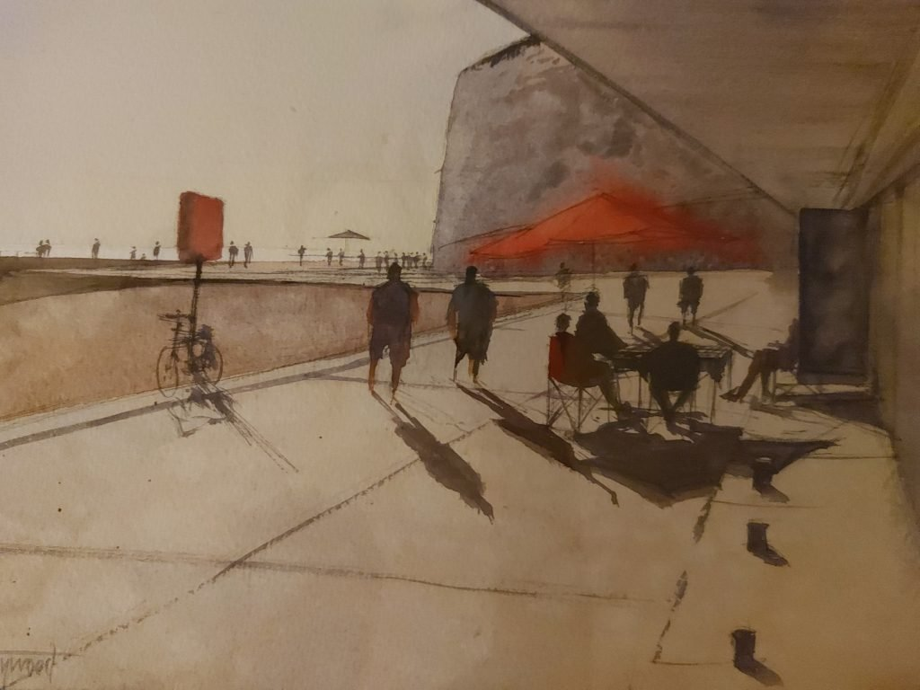 Painting of Rottingdean beach chalets by John Haywood
