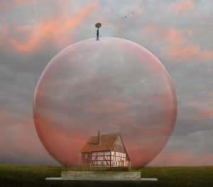 Dreamscape painting of a tudor house in a bubble with a man and umbrella on top and pink clouds in the background