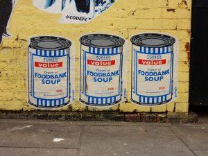 Tories Foodbank Soup cans mural in London by artist Georgie