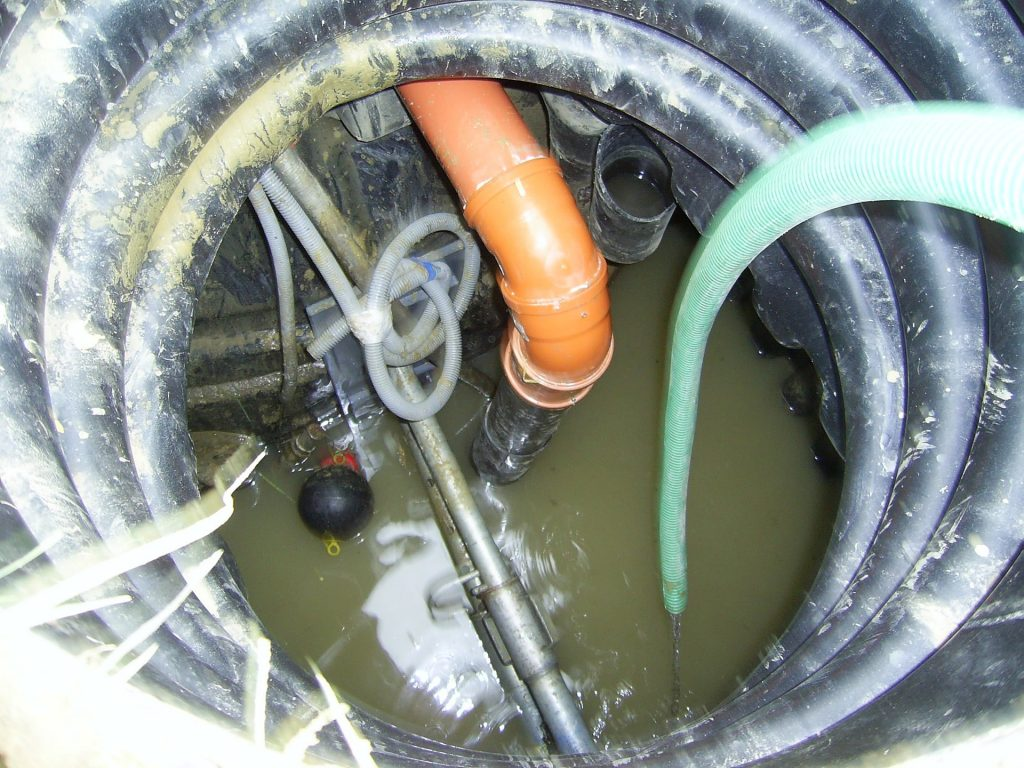 Pipes inside a sewerage system