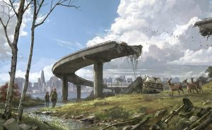 """painting """"collapse of society"""" depicting people walking under demolished motorway and decaying city in background"""